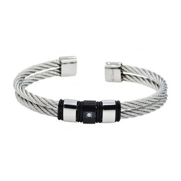 Blackjack Men's Black Plated Stainless Steel Wire Bangle With Cubic Zirconia