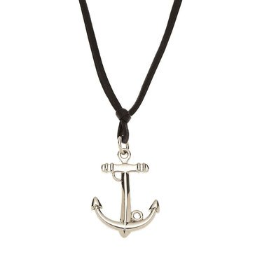 Blackjack Men's Stainless Steel Anchor Pendant With 24