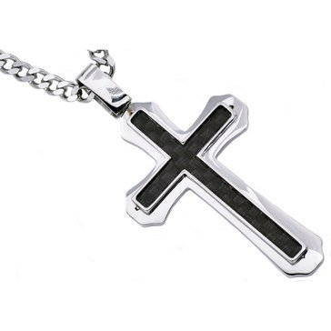 Blackjack Men's Black Carbon Fiber Stainless Steel Cross Pendant With 24