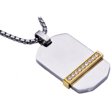 Blackjack Men's Gold Plated Stainless Steel Dog Tag Pendant With Cubic Zirconia, 24