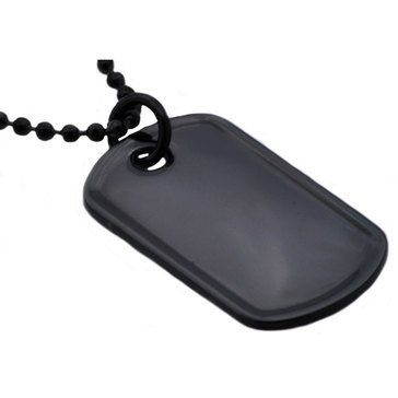Blackjack Men's Black Stainless Steel ID Dog Tag Pendant With 24