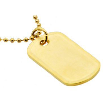 Blackjack Men's Gold Plated Stainless Steel ID Dog Tag Pendant With 24