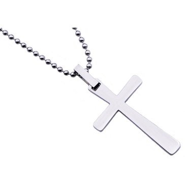 Blackjack Men's Stainless Steel Mini Cross Pendant With 24