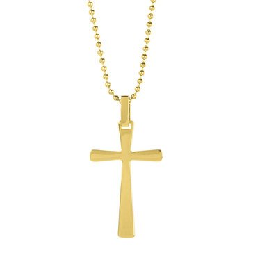 Blackjack Men's Gold Plated Stainless Steel Mini Cross Pendant With 24