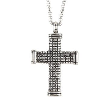 Blackjack Men's Black Plated Stainless Steel Box Pattern Cross Pendant With 24
