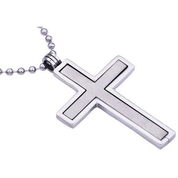 Blackjack Men's Stainless Steel Cutout Cross Pendant With 24