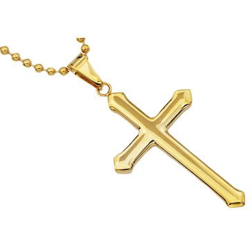 Blackjack Men's Gold Plated Stainless Steel Cross Pendant With 24