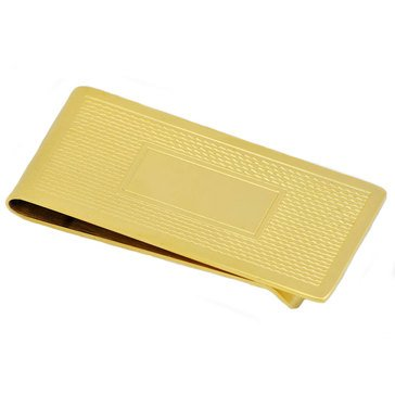 Blackjack Men's Gold Plated Stainless Steel Wave Pattern Money Clip
