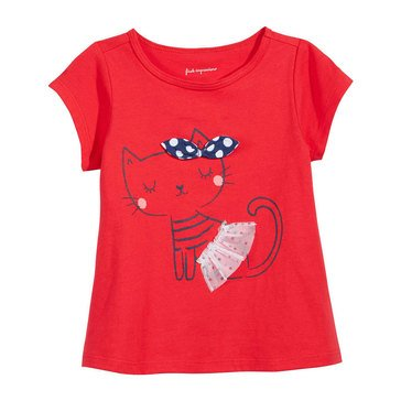 First Impressions Baby Girls' Tulle Cat Tee, Lollipop