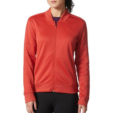 Adidas Women's Tricot Zippered Track Jacket in Red