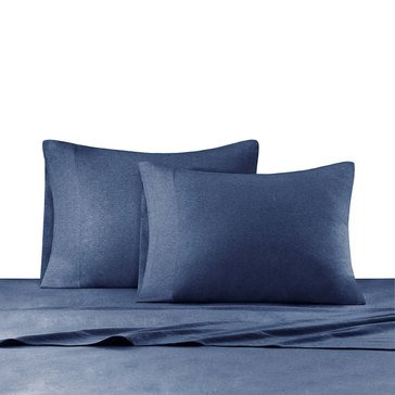 Ink & Ivy Heathered Jersey Knit Sheet Set, Navy - King