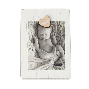 Mudpie Baby Wood Block Clothespin Frame, Gray