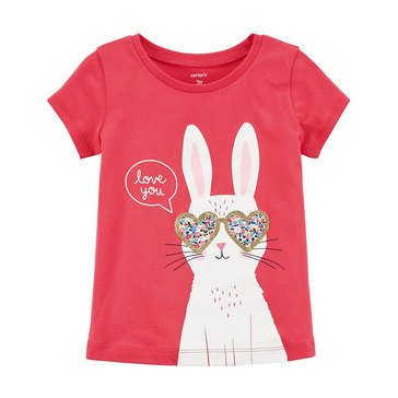 Carter's Toddler Girls' Short Sleeve Bunny Glasses Tee, Red