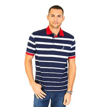 Nautica Men's Short Sleeve Varigated Striped Tech Polo