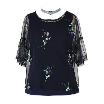 Swat Fame Big Girls' Short Sleeve Embroidered Mesh Top