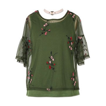 Speechless Big Girls' Embroidered Mesh Top