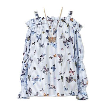 Speechless Big Girls' Butterfly Print Off The Shoulder Dobby Top