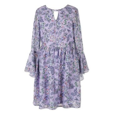Speechless Big Girls' Floral Print Chiffon Bell Sleeve Dress