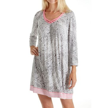 Ellen Tracy 3/4 Sleeve Chemise, Gray / Ivory