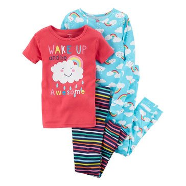 Carter's Girls' 4-Piece Rainbow Cotton Pajama Set