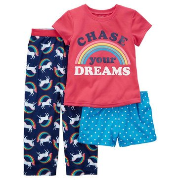 Carter's Girls' Polyester Rainbow Unicorn Pajama Set