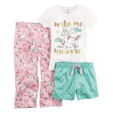 Carter's Girls' 3-Piece Polyester Unicorn Pajama Set