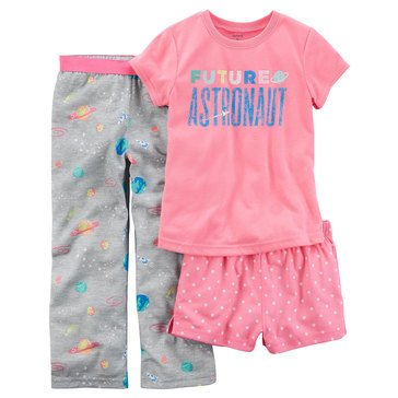 Carter's Girls' 3-Piece Polyester Astronaut Pajama Set