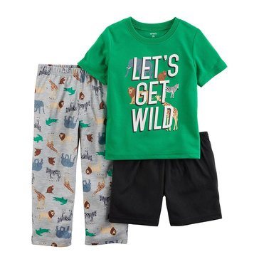 Carter's Toddler Boys' Green Safari Tiger 3-Piece Pajama Set