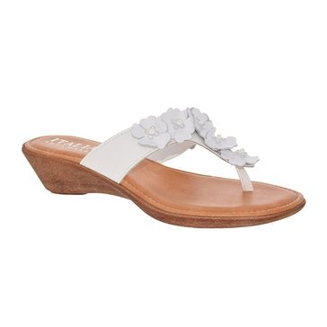 Italian Shoemakers Giggle Flower Thong White