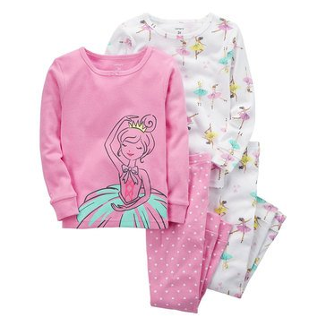 Carter's Girls' 4-Piece Cotton Ballerina Pajama Set