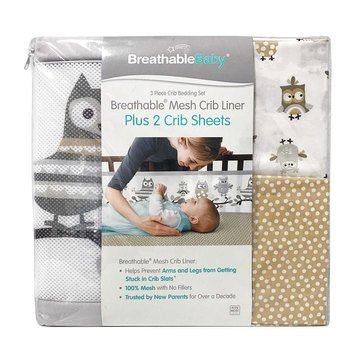 Breathable Baby 3,Piece Bedding Set, Owl Fun Gray
