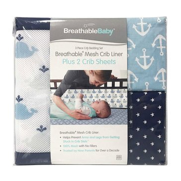 Breathable Baby 3,Piece Bedding Set, Little Whale Navy
