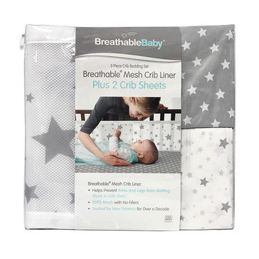 Breathable Baby 3,Piece Bedding Set, Star Light White & Gray