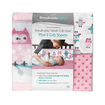 Breathable Baby 3,Piece Bedding Set, Owl Fun Girl