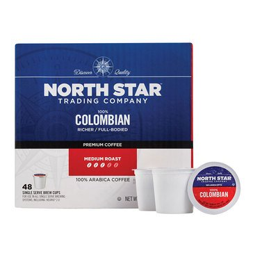 North Star 100% Colombian Single Serve Coffee Cups, 48-Count