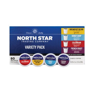 North Star Variety Pack Single Serve Coffee Cups, 80 Count