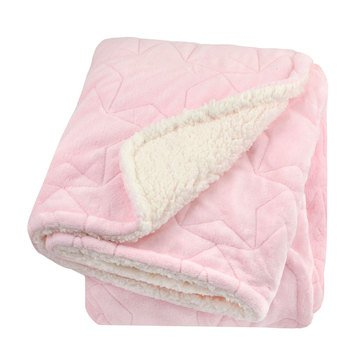 Just Born 2 Ply Star Stitched Blanket, Pink