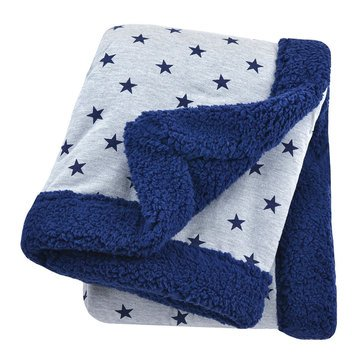 Just Born 2 Ply Star Blanket, Heather Grey & Navy
