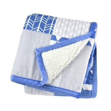 Just Born 2 Ply Printed Patchwork Blanket, Blue