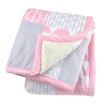 Just Born 2 Ply Printed Patchwork Blanket, Pink