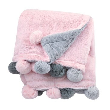 Just Born 2 Ply Cuddle Plush Pom Pom Blanket, Pink