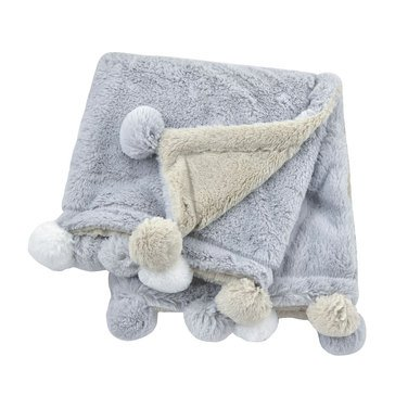 Just Born 2 Ply Cuddle Plush Pom Pom Blanket, Grey