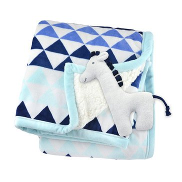 Just Born 2 Ply Triangle Blanket with Rattle, Blue