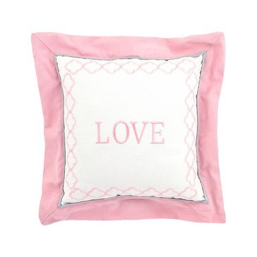 Just Born Dream Love Brushed Twill Pillow, Pink