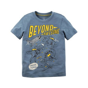 Carter's Little Boys' Dinos in Space Tee, Grey