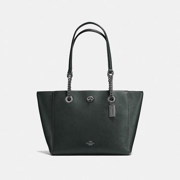 Coach Pebble Turnlock Chain Tote 27 Ivy