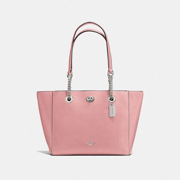 Coach Pebble Turnlock Chain Tote 27 Peony