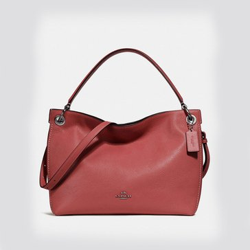 Coach Polished Pebble Leather Clarkson Hobo Washed Red