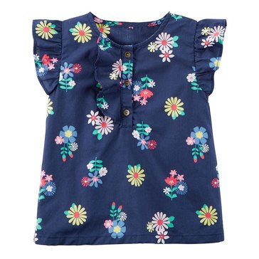 Carter's Little Girls' Flower Print Woven Top