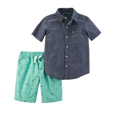 Carter's Toddler Boys 2-Piece Chambray Top & Schiffli Shorts